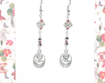 Earrings Silver Charm Red Grey Metallic Crystal Follow Your Heart Knot Swirl Spiral #D03b One Of A Kind