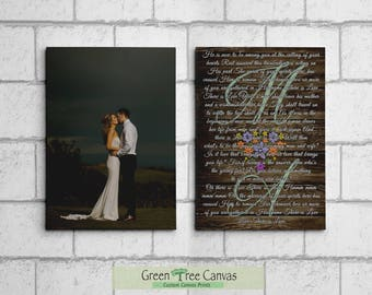 Set of 2 canvases, Wedding song, lyrics, Vows Custom Canvas, 1st. Anniversary Gift, Wedding Promises, Gift for husband from wife,