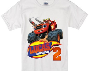 Blaze and monster machines Birthday Long sleeve and Short Sleeve Shirt Custom personalized shirts for all family, b2