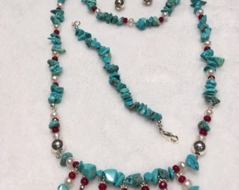 Turquoise, Ruby, and Freshwater pearls complete set