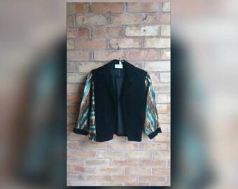 Vintage velvet and metallic  sleeved jacket