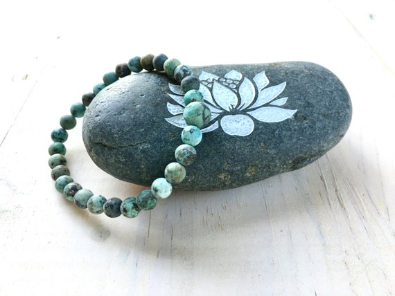 African Turquoise Mala Bracelet, Natural Stone Stretch Bracelet, Match Your Mala Beads, Yoga Beaded Bracelet, Earthy Jewelry