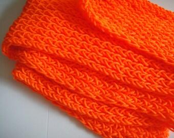 33% OFF SALE - Simple Knit Scarf - Hot Orange - Football Team / Team Spirit - The Kadin