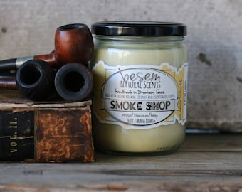 Tobacco Candle // Smoke Shop, honey and pipe tobacco, man candle, natural tallow beeswax candle, artisan candle