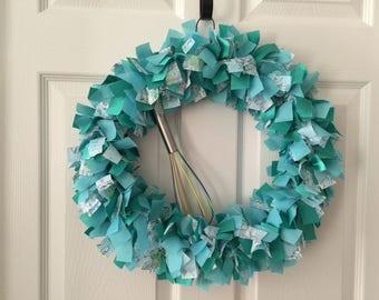 Turquoise Rag Wreath, Coat Hanger Wreath, Spring Rag Wreath, Summer Fun Wreath