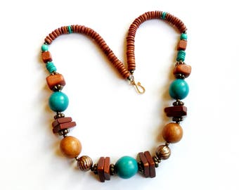Vintage Boho Wood Necklace Geometric Sphere Cube Triangle Brown Turquoise Ethnic Tribal Festival Mixed Media Materials VTG