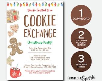 Instant Download Cookie Exchange Invitation, Bakery Birthday Invitation, Christmas Printable Invitation, Edit Yourself!
