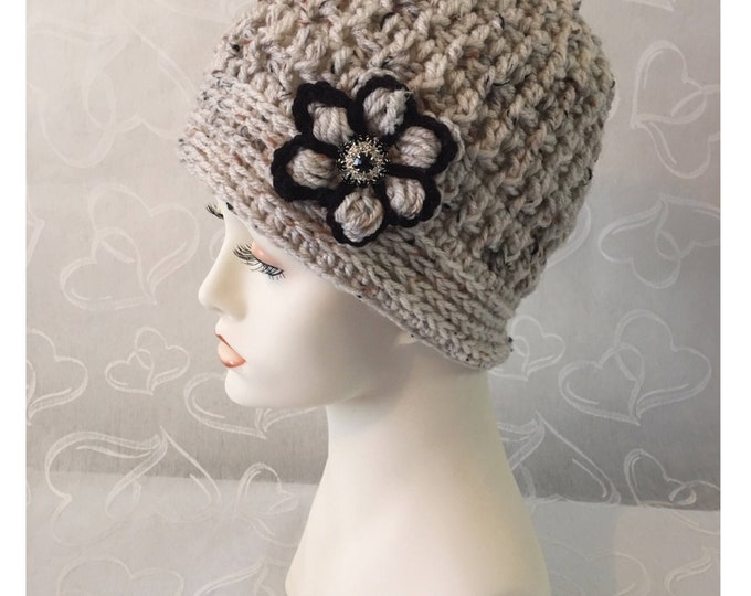 Crocheted Womens Hats-Vintage Caps-Crocheted Flowers -Flapper Style Hats-Cloche Hat