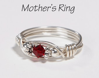 1 Birthstone Mother's Ring: Personalized Sterling Silver Mom's Family Ring with one solitaire Swarovski Birthstone stone Crystal - Birthday