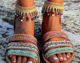 "Handmade leather sandals, Boho sandals, Greek leather sandals, ""Jamelia"""