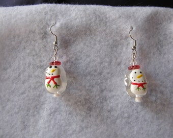 Christmas Earrings, beaded jewelry, handmade jewelry, Christmas Jewelry, Wreath earrings