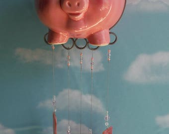 Flying Pig Up Cycled Piggy Bank Wind Chime