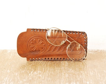 Retro Tooled Leather Glasses Case, Spectacles Sleeve