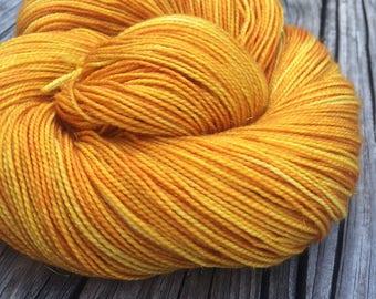 Sparkle Sock Yarn Poseidon's Trident hand painted goldenrod yellow sockyarn 438 yards superwash merino nylon stellina fingering swm gold