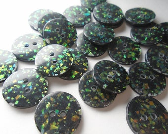 6 Vintage twinkle glitter buttons black & green 1.8cms 18mms 2 holes 6 12 18 24 20 36
