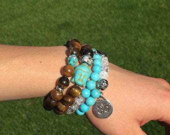 Turquoise Skull Bracelet, Tigereye Bracelet, Tiger Eye Bracelet, Skull Bracelet, Tigereye Skull Bracelet skull