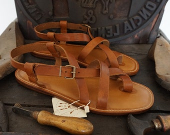 Handmade Leather Sandals Men's Genuine Leather and Vegetable