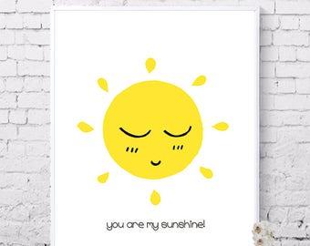 You are my sunshine, Sun wall art, sunshine poster, Yellow, Printable wall art, Nursery, Digital prints, Instant download