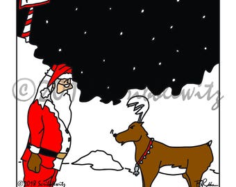 Christmas Cartoon, Christmas Humor, Santa Humor, Santa Reindeer Cartoon, Funny  Xmas Illustration