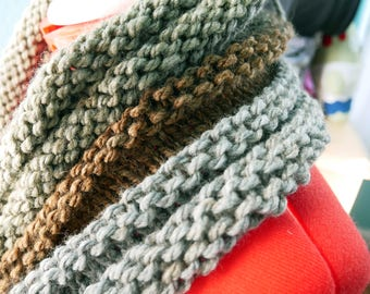 Hand-Knitted soft Patterned Cowl-Forest