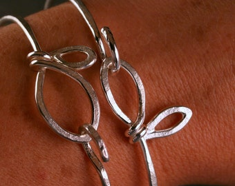 Sterling silver botanical leaf bangle bracelet set of two