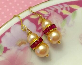 Pearl Wedding Earrings, Flower Girl Earrings, Pearl and Pink Rhinestone Earrings, Simple Earrings, Petite Earrings, Surgical Steel Earrings