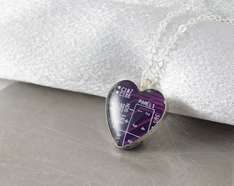 Circuit Board Necklace Purple Heart, Purple Sterling Silver Heart Necklace, Computer Geeky Jewelry, Anniversary Gift, Software Engineer Gift
