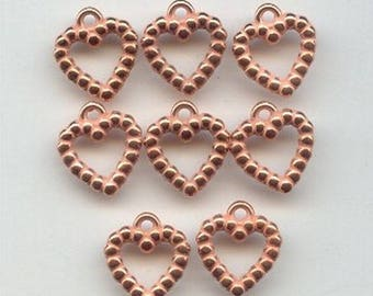18 Vintage Copper Coated Acrylic 14mm. Bubble Heart Bead Charms 2020