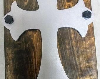 True Grit Decor Silver Cross on Early American stained Poplar