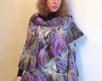 Mantle lilac mountains nuno felt wrap felted accessory for women wrap