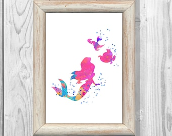 Ariel Poster Watercolor Print Little Mermaid Print Disney Princess Print Giclee Wall Illustrations  Art Print  Instant Digital Download