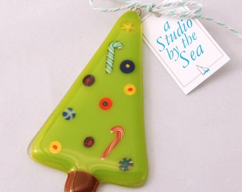 Fused Art Glass Christmas Tree Ornament Lime Green