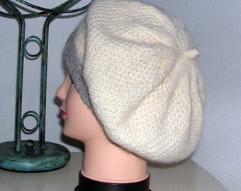 Sale Hand Knitted Beret, Seed Stitch Tam, Slouchy Beanie Hat, Ladies Beret, Tubular Brim, Large, Blacker Breed Yarn, Slouchy  Hat, Cream