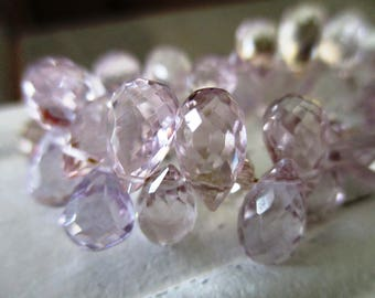 Lavender Amethyst faceted drop briolette- 8mm- 8 briolette