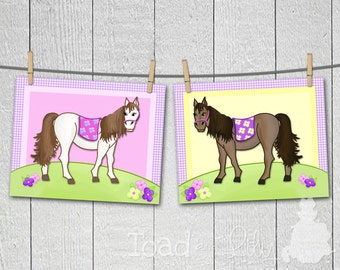 Set of 2 Lovely in Lilac Horse Girls Bedroom 8 x 10 ART PRINTS