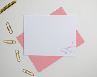 Personalized Note Cards Flat Stationery Cards, Girls Personalized Stationary Flat Note Cards, Stationary Note Card Monogram Stationary Card