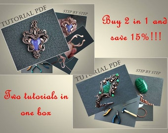 2 in 1 Tutorials wire wrap pendant and bracelet 2 PDF files - wire wrap tutorial  - tutorial wire wrapped jewelry - jewelry tutorial