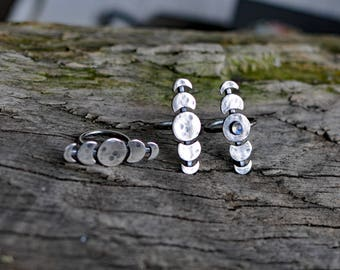 moon phase jewelry, moon ring, moon cycle ring, celestial jewelry, wiccan ring, triole goodness ring, celestial jewellery