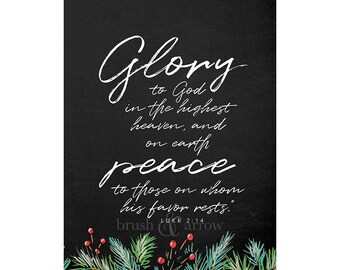 Christmas Bible Quote, Luke 2:14, instant digital download