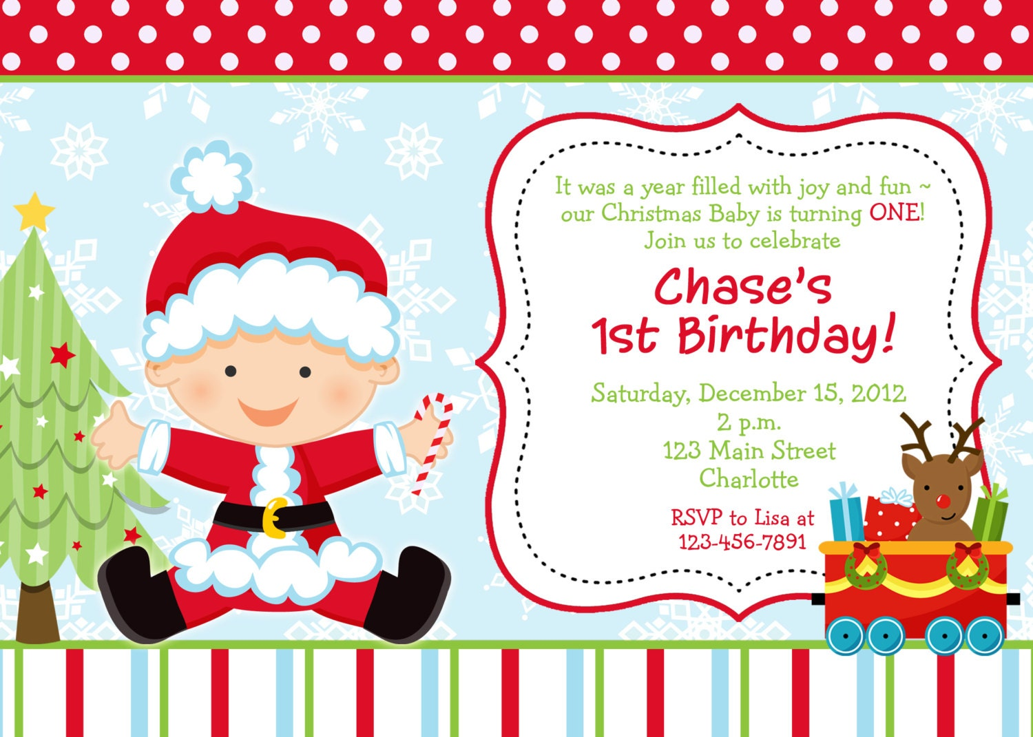 First birthday Christmas party invitation Christmas