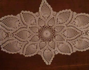 Handmade white doily 63x35cm, way way table, made with fine cotton crochet