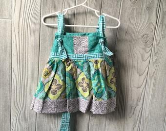 2T - blue floral knot dress