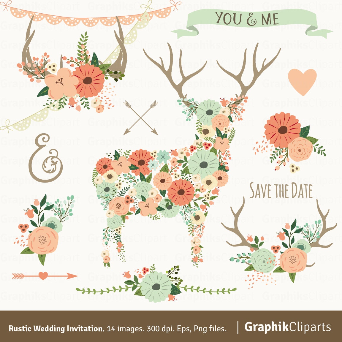 Rustic Wedding Invitation Flower Vectors Floral Antlers Deer Spring 14 Images 300 Dpi Eps Png Files Instant Download