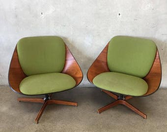 Delicieux Pair Of Rare Plycraft Lounge Chairs (6Q164U)