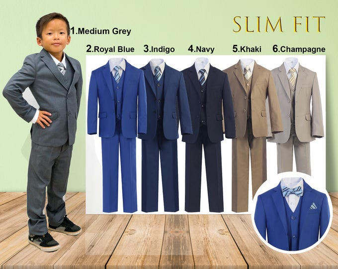 Featured listing image: Slim Fit Premium Boys 7-Piece Suit Tuxedo, Gray Navy Indigo Royal Blue Khaki Champagne, Wedding Ring Bearer Homecoming Prom