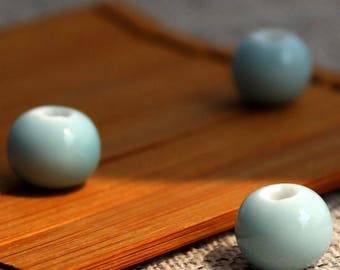 10 Baby Blue Porcelain Beads 6mm-12mm