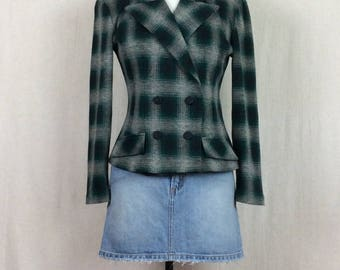 90's Green Plaid Jacket // vintage 1990s All That Jazz cropped plaid coat double breasted grunge peacoat size Medium