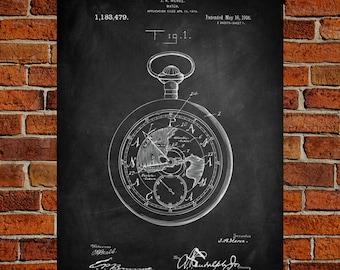 Pocket Watch Fine Art Prints, Patent, Vintage Art, Blueprint, Poster, Patent Prints, Wall Art, Décor