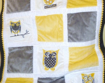 "Appliqued Owl Minky Blanket ""Whooo Loves You In Yellow"""