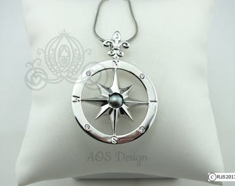 Pick A Pearl Cage Compass Rose Silver Plated Locket Charm Necklace Pirate Ship Sailing Ocean Nautical Compass Charm